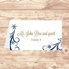 avery wedding templates wedding place card diy template navy swirling snowflakes editable