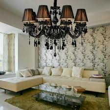 free shipping 8 lights black crystal chandelier light fixtures for living room with black lamp shade black crystal chandelier lighting