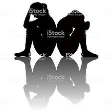 シャドウと悲しい女性シルエット 2人のベクターアート素材や画像を多数