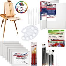 u s art supply 62 piece acrylic painting kit with coronado french easel acrylic paint