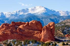 denver to colorado springs. snow covered garden of the gods park in colorado springs denver to t