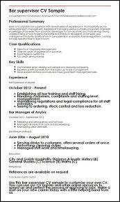 sample resume supervisor position bar supervisor cv sample myperfectcv