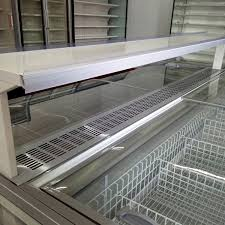 aht type curved glass door chest freezer