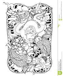 карп с линией тайской татуировкой волны японский комплект вектора