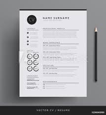Fotografie Obraz Elegant Cv Resume Template Minimalist Black And