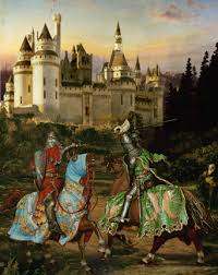 knights duel combat castle