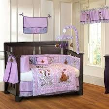 jungle girl piece purple baby crib bedding set with pink safari