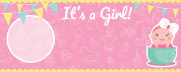 Its A Girl Baby Shower Design Small Personalised Banner 4ft X 2ft Partyrama Co Uk