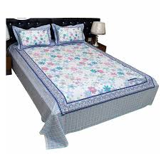 cotton king size bed sheet with pillow cover set ob2532