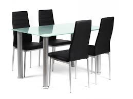 rectangular glass dining tables. Frosted Rectangular Glass Dining Table And 4 Black Chairs Set Tables