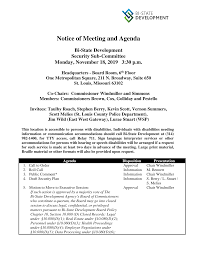 NOTICE OF MEETING AND AGENDA