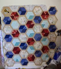 Kat & Cat Quilts: Honeycomb Quilt is a top! & The paper pieced bee in the corner came from this pattern at Badskirt and  the over all design is from Elizabeth Hartman at Oh Fransson. Adamdwight.com