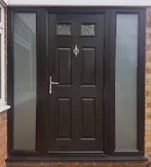 details about black external and white internal composite door and two glass side panels