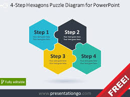 Step Chart In Powerpoint 4 Step Hexagons Puzzle Diagram For Powerpoint