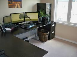 l shaped black wooden working desk combined black tone corner filling  cabinet. Magnificent Black Wooden Desks Ideas To Get Comfy Working Station