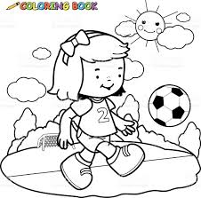 Small Picture Girl Soccer Player Coloring Page stock vector art 495471098 iStock