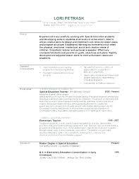 Teachers Resume Objective Sample Special Education Teacher Resume