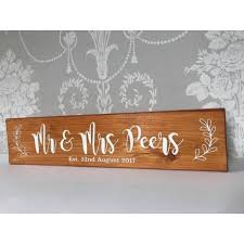 mr mrs personalised wedding gift plaque wooden anniversary