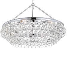 crystorama calypso 6 light crystal teardrop chrome chandelier