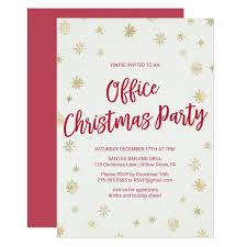 Gold Card Office Gold Snowflake Office Christmas Party Invitation