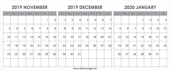 Blank Dec 2020 Calendar Nov Dec 2019 Jan 2020 Calendar Template Landscape Portrait