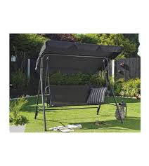 steel frame garden swing with textilene seat and waterproof canopy