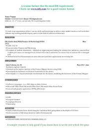 Mba Resume Sample Recent Graduate Resume Mba Hr Fresher Resume