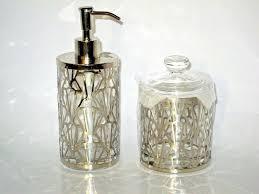 details about bella lux glass chrome inox bath accessories soap lotion pump q tips jar upick