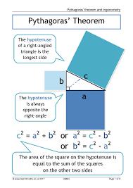 Pythagoras Theorem Chart Trigonometry And Pythagoras Posters