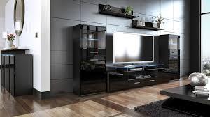 Wall Units Living Room Furniture Wall Unit Living Room Furniture Almada V2 Black High Gloss