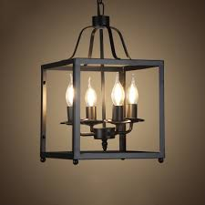 industrial 4 light chandelier with square metal cage in open bulb style black
