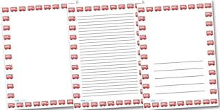 Free Writing Paper Free Red Bus Portrait Page Borders Portrait Page Borders