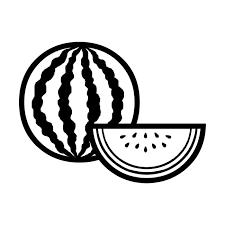 スイカ白黒果物食べ物無料イラスト素材