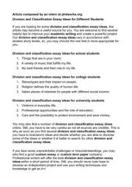 division and classification essay ideas for different  division and classification essay ideas for different students
