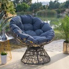 Details about outdoor papasan chair w reversible cushion large resin wicker steel frame blue