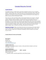 Resume Resume Format Canada Examples Sample Canadian Good American