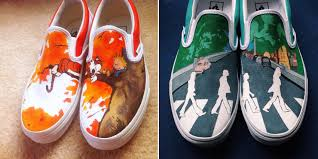 Cool Designs To Paint On Shoes Artist Hand Paints Shoes With Calvin And Hobbes Pink Floyd