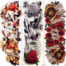 рукав Temorary татуировки волк с длинным акварель животных татуировки для мужчин