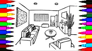 Living Room Coloring Coloring Pages Living Room L Dining L Bedroom L Lounge Drawing