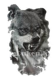 временное тату Tattoo волк в лесу 215x155mm Th 149