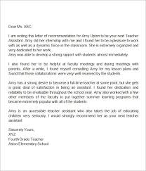 Cover Letter Sample Teacher Inspiration RecommendationLetterforTeacherAssistant Miscellaneous