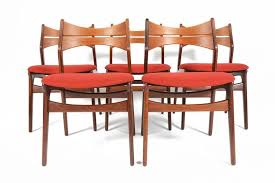scandinavian modern set of five erik buck model 310 dining chairs in teak