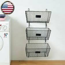 wall mounted 3 tier metal fruit basket