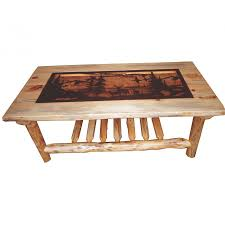 traditional log coffee table with metal insert