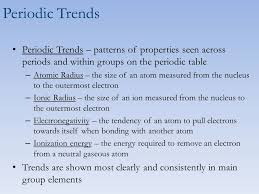Periodic Trends Chemistry 5(C). Learning objectives Use the ...
