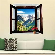 window wall art 3d view window landscape painting snowy mountains home daccor pvc removable wall sticker window wall art