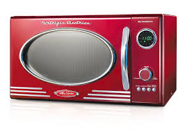 details about 0 9 cubic foot 800 watts red retro countertop microwave oven w 12 cook settings