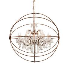 gyro crystal medium chandelier antique rust 1