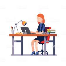 office desk clipart. Fine Desk Business Woman Or A Clerk Working At Office Desk Business  And Office Desk Clipart C