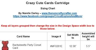 The Non Crafty Crafter Crazy Cute Cards Cartridge Sizing Chart